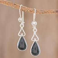 Jade dangle earrings, 'Marvelous Drop in Dark Green' - Jade and Sterling Silver Dangle Earrings from Guatemala