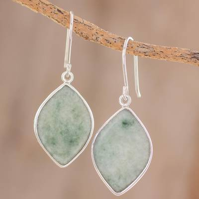 Jade reversible dangle earrings, 'Vibrant Leaves' - 2-Tone Green Jade Dangle Earrings Crafted in Guatemala