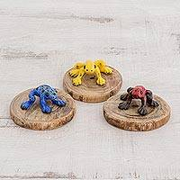 Ceramic and wood figurines, 'Cute Frogs' (set of 3) - Colorful Ceramic and Wood Frog Figurines from Guatemala