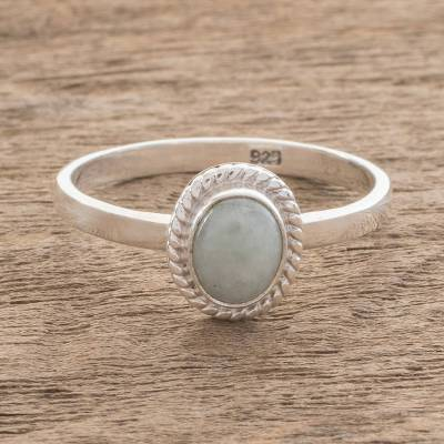 plain thin silver ring thing - Apple Green Jade Solitaire Ring Crafted in Guatemala