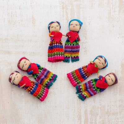 Cotton worry dolls, Joined in Love (set of 6)