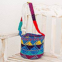 Cotton bucket bag, 'Lively Nature' - Handwoven Colorful Cotton Bucket Bag from Guatemala