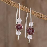 Rose quartz and garnet drop earrings, 'Rosy Sheen' - Rose Quartz and Garnet Drop Earrings from Guatemala