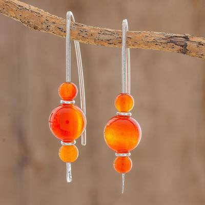 Agate drop earrings, 'Sweet Orange' - Orange Agate Drop Earrings from Guatemala