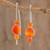 Agate drop earrings, 'Sweet Orange' - Orange Agate Drop Earrings from Guatemala thumbail
