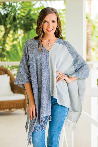 Cotton poncho, 'Textures of Guatemala' - Guatemalan Handwoven Natural and Recycled Cotton Poncho