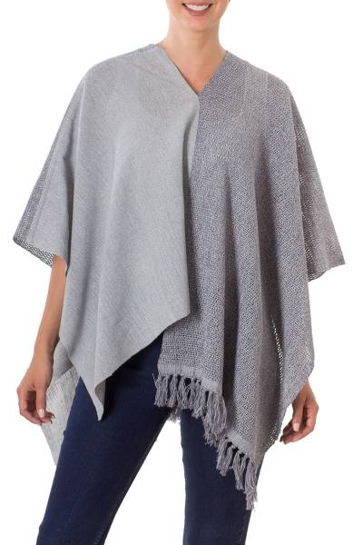 Guatemalan Handwoven Natural and Recycled Cotton Poncho