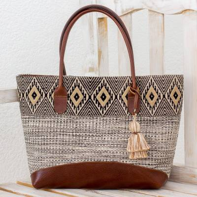 Leather accent cotton tote bag, 'Mayan Chic' - Natural Cotton and Black Diamond Motif Leather Accent Tote