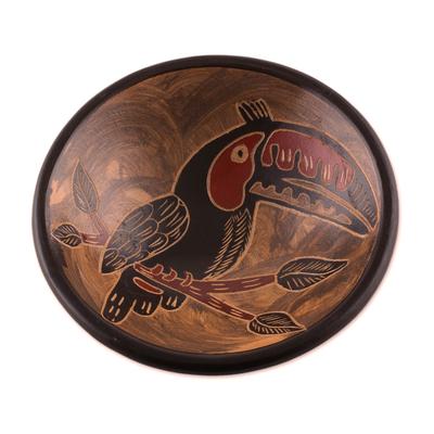 Black Toucan Earth-Tone Chorotega Pottery Decorative Bowl