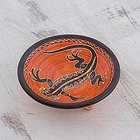 Ceramic decorative bowl, 'Gecko's Gaze' - Orange and Black Gecko Chorotega Pottery Decorative Bowl