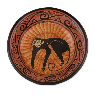Handcrafted Orange Monkey Chorotega Pottery Decorative Bowl