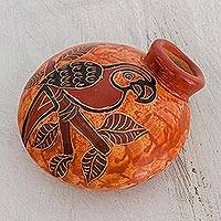 Ceramic decorative vase, 'Sunrise Macaw' - Orange and Red Macaw Chorotega Pottery Decorative Vase