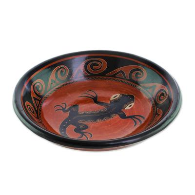 Gecko Motif Ceramic Decorative Bowl from Costa Rica