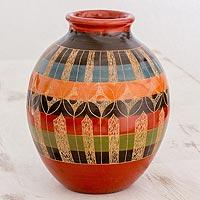 Ceramic decorative vase, 'Geometric Illusion' (Nicaragua)
