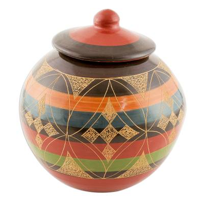 Round Decorative Ceramic Lidded Jar with Geometric Design
