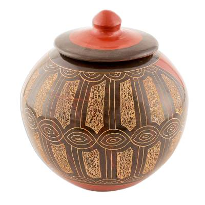 Artisan Crafted Ceramic Lidded Jar in Pre-Hispanic Style