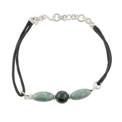 Handcrafted Jade Bead Trio Pendant Wristband Bracelet