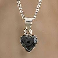 Jade pendant necklace, 'Black Symbol of Love' - Black Jade and Sterling Silver Heart Pendant Necklace