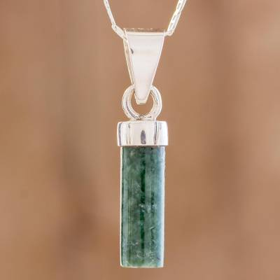 Jade pendant necklace, 'Calm Beauty in Green' - Cylindrical Jade Necklace in Green from Guatemala