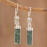 Jade dangle earrings, 'Green Mayan Pillars' - Green Jade Cylindrical Dangle Earrings from Guatemala