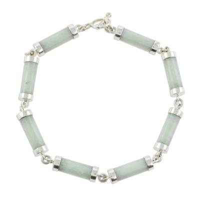 Light Jade Cylinders Sterling Silver Link Wristband Bracelet