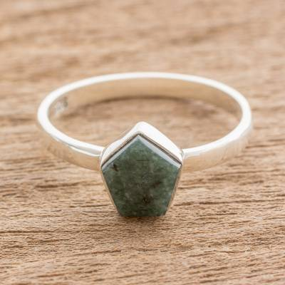 plain silver thumb ring wave - Dark Green Jade Pentagon and Sterling Silver Cocktail Ring