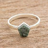 Jade cocktail ring, 'Striking in Light Green' - Light Green Jade Pentagon and Sterling Silver Cocktail Ring