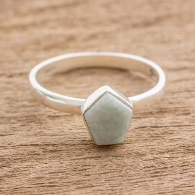 customize graduation rings - Pale Green Jade Pentagon and Sterling Silver Cocktail Ring