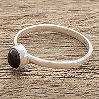 Jade solitaire ring, 'Oval Delight' - Oval Black Jade Solitaire Ring from Guatemala