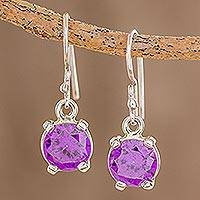 Cubic zirconia dangle earrings, 'Glimmering Heliotrope' - Purple CZ Dangle Earrings Crafted in Guatemala