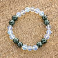 Jade and rainbow moonstone beaded stretch bracelet, 'Fields and Clouds' - Dark Green Jade and Rainbow Moonstone Bead Stretch Bracelet