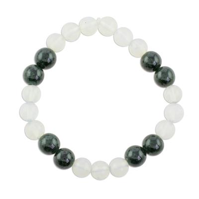 Dark Green Jade and Rainbow Moonstone Bead Stretch Bracelet