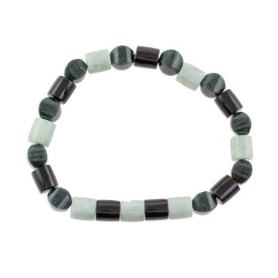 Handcrafted Guatemalan Jade Trio Beaded Stretch Bracelet