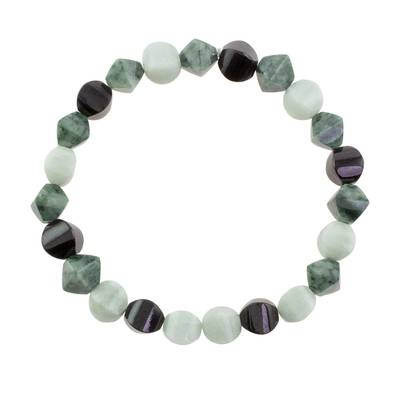 Guatemalan Green Black and Pale Jade Beaded Stretch Bracelet