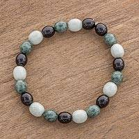 Jade beaded stretch bracelet, 'Light and Shade' - Black Green and Pale Natural Jade Beaded Stretch Bracelet
