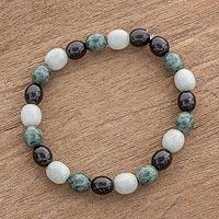 Jade beaded stretch bracelet,