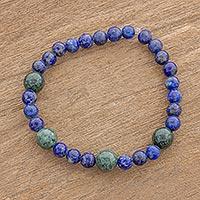 Jade and lapis lazuli beaded stretch bracelet,