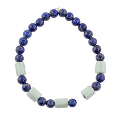 Lapis Lazuli and Pale Green Jade Beaded Stretch Bracelet