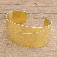 Brass cuff bracelet, 'Royal Combination' - Combination Finish Brass Cuff Bracelet from Guatemala