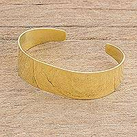 Brass cuff bracelet, 'Solid Beauty' - High-Polish Brass Cuff Bracelet from Guatemala