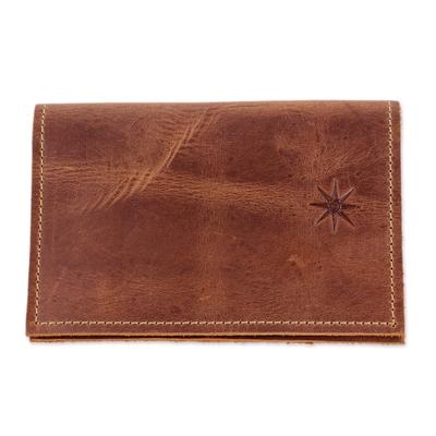 Dark Brown Leather Passport Wallet from Guatemala