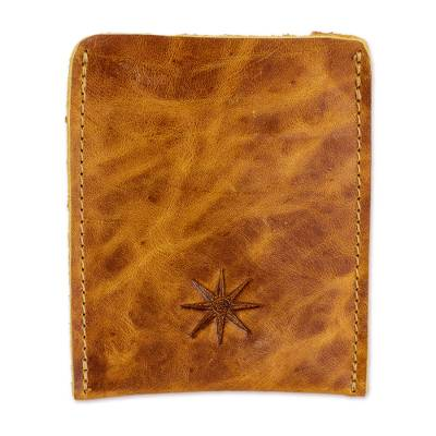 Brown Leather Card Holder from Guatemala