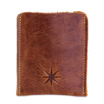 Dark Brown Leather Card Holder from Guatemala