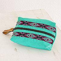 Leather accented cotton cosmetic bag, 'Turquoise Festival' - Handwoven Cotton Cosmetic Bag in Turquoise from Guatemala