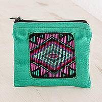 Cotton coin purse, 'Turquoise Festival' - Handwoven Cotton Coin Purse in Turquoise from Guatemala