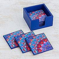 Wood coasters, 'Blue Delight' (set of 6) - Six Handcrafted Wood Coasters in Blue from Costa Rica