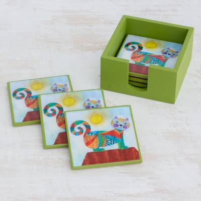 Wood coasters, 'Cat Under the Sun' (set of 6) - Six Handcrafted Cat-Themed Wood Coasters from Costa Rica