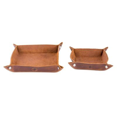 Dark Brown Leather Catchalls (Pair) from Guatemala