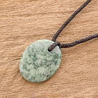 Jade pendant necklace, 'Ancient Memory' - Green Jade Pendant Necklace with Cotton Cord