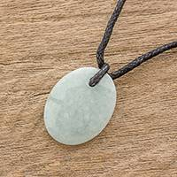 Jade pendant necklace, 'Ancient Splendor' - Green Jade Pendant Necklace with Cotton Cord
